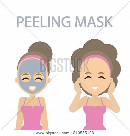 Woman with peeling mask for beautiful face skin.