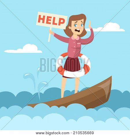 Sinking business boat. Woman on boat with help sign.