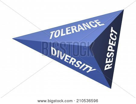 Three sided pyramid and words Tolerance Diversity and Respect on white background