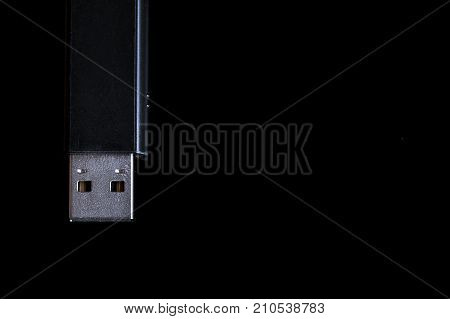 USB memory stick flash drive isolated on black background