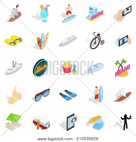 Tropical resort icons set. Isometric set of 25 tropical resort vector icons for web isolated on white background