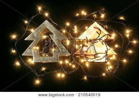 Christmas Tree Gift Box on Black Background