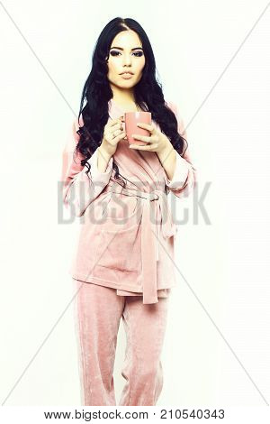Sexy Girl In Pink Velour Pajama Home Suit With Cup