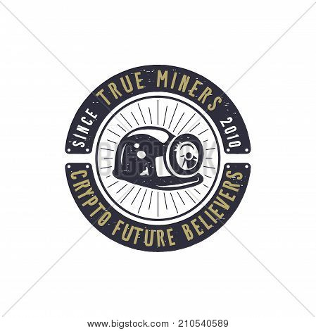 Crypto mining emblem. Crypto currency label and concept. Digital assets logo. Vintage han drawn monochrome design. Technology patch. Stock vector illustration isolated on white background.