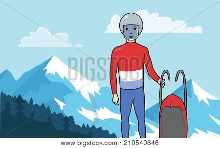 Athlete Luger. Young man is standing with sledge on the background of a mountainous landscape. Winter sport, Luge. Vector Illustration.
