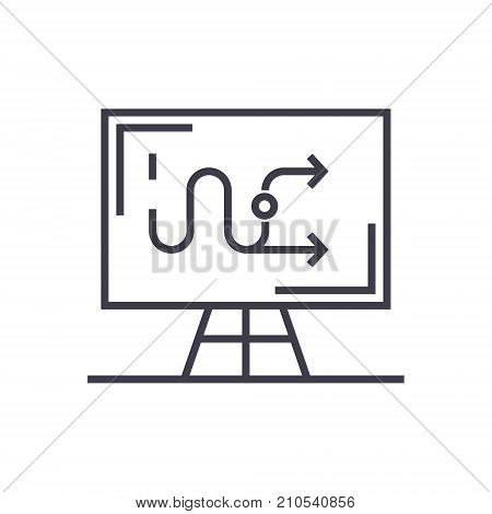 business tactics line icon, sign, symbol, vector on isolated background
