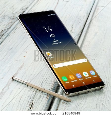 Koszalin, Poland - 24 October, 2017: Samsung Galaxy Note 8 on white background. Samsung Note 8 are new generation smartphone from Samsung. The Samsung Note 8 is smart phone with multi touch scren