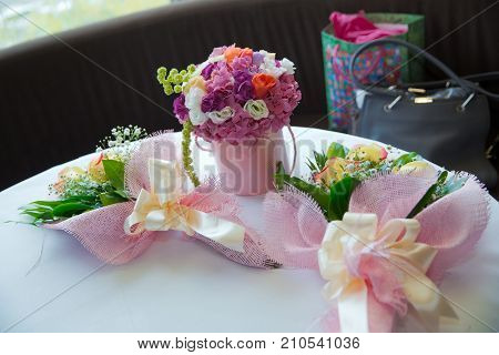 Colored And Round Pink Flower Bouquets. For Children's Birthday.unconscious