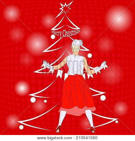 Preparing for the New year holiday. Beautiful woman dresses up the Christmas tree. Pin-up style. Vector illustration