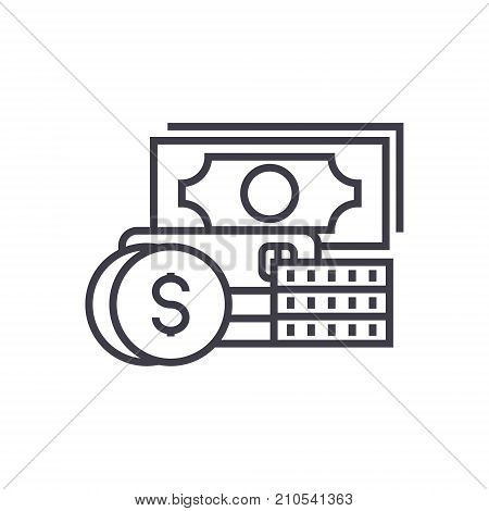 credit and debit line icon, sign, symbol, vector on isolated background