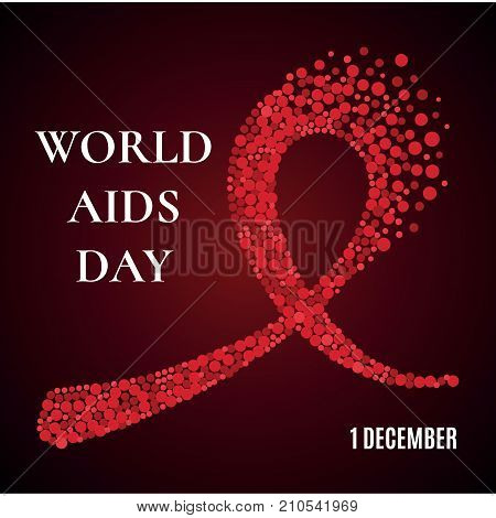 World AIDS Day awareness poster. Red ribbon made of dots on dark background. Symbol of acquired immune deficiency syndrome. Medical concept. Circle design elements. Vector illustration.