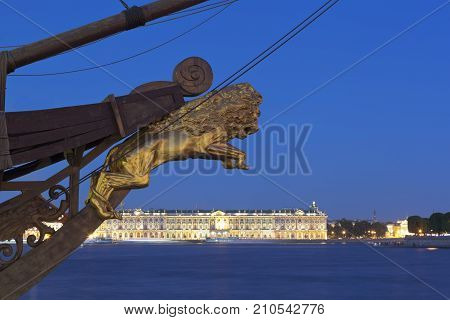 St. Petersburg, Russia - June 18, 2017: Sculpture of a lion on the nose of the sailing ship