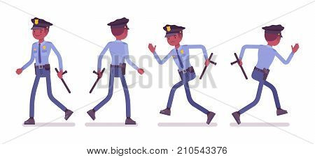 Policeman walking and running. Black male officer with a baton chasing a criminal, patrolling the streets, keep watch over the city. Vector flat style cartoon illustration isolated on white background
