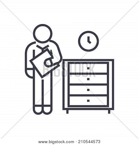 office archive, archiver line icon, sign, symbol, vector on isolated background