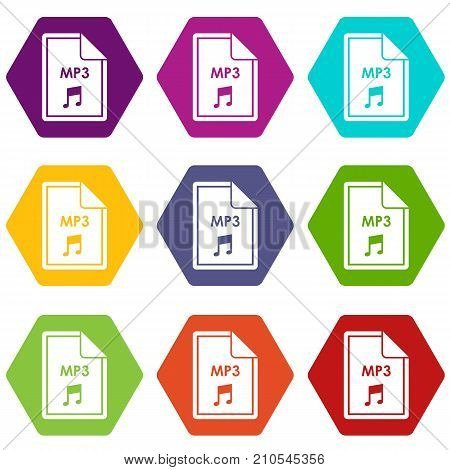 File MP3 icon set many color hexahedron isolated on white vector illustration