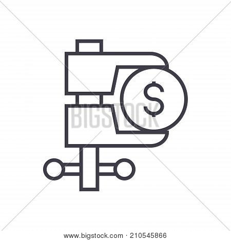 tax reduction line icon, sign, symbol, vector on isolated background