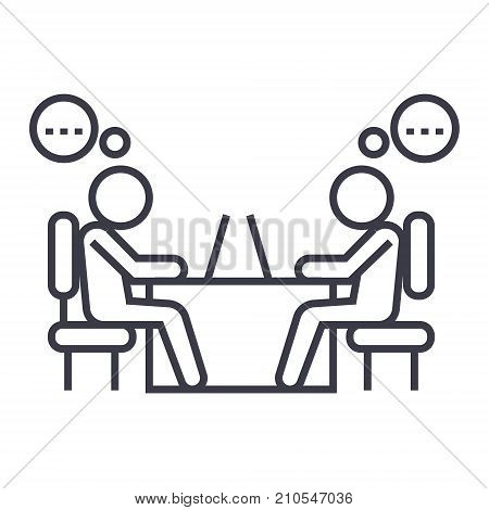 office coworkers line icon, sign, symbol, vector on isolated background