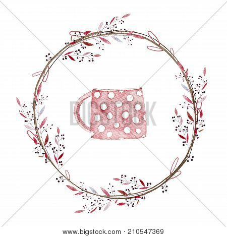 Sweet autumn wreath. Watercolor. Autumn wreath included colorful leaves, branches and sweet cup. Perfect for you postcard design, projects, poster.