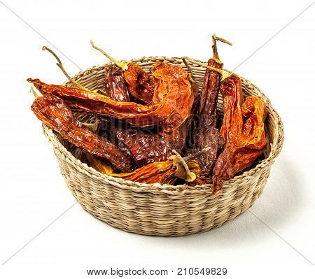 Dry peppers called aji amarillo. Peruvian cuisine.