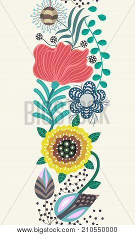 Floral seamless pattern. Hand drawn creative flowers in folk style. Colorful artistic background. Abstract herbs. Can be used for wallpaper textiles embroidery card cover. Vector eps10
