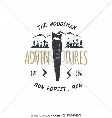 Vintage hand drawn travel badge and emblem. Hiking label. Outdoor adventure inspirational logo. Typography retro style. The woodsman adventures for t shirts. Stock vector