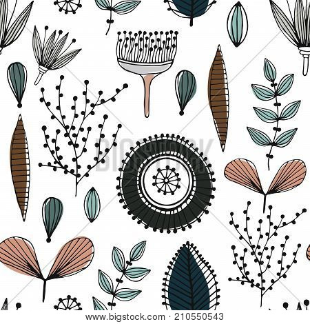 Floral seamless pattern. Hand drawn creative flowers. Lines and strips. Abstract herbs. Outline. Creative design. Can be used for wallpaper textiles wrapping card cover. Vector illustration eps10
