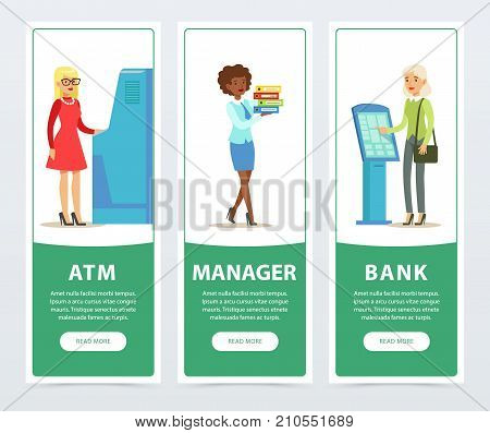 Banking service set, ATM, registration and payment terminal, worker, clients, bank works banners for advertising brochure, promotional leaflet poster, presentation flat vector elements for website or mobile app with sample text