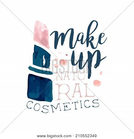 Make up, natural cosmetic logo, label for beauty studio, cosmetics shop, spa center watercolor vector Illustration on a white background