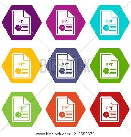File PPT icon set many color hexahedron isolated on white vector illustration