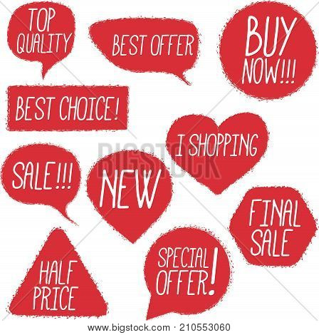 Chalk drawing shopping labels set. Top quality, best choice, sale, new, half price, special offer, i shopping, final sale, buy now vector stickers. Retail advertising templates