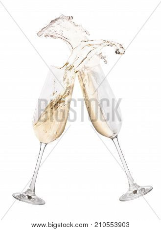glasses of champagne toasting creating splash isolated on white background. Cheers. Pair of champagne glasses making toast. Drink for New Year celebration. Festive alcohol beverage