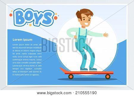 Happy boy scatebording, boys banner for advertising brochure, promotional leaflet poster, presentation flat vector element for website or mobile app with sample text