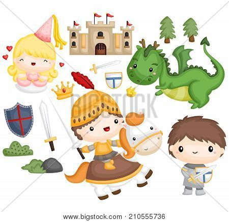 a knight and dragon theme vector set
