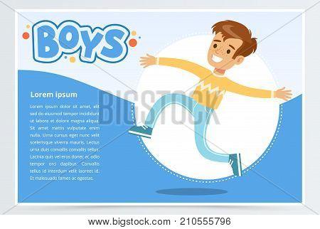 Smiling boy running, boys banner for advertising brochure, promotional leaflet poster, presentation flat vector element for website or mobile app with sample text