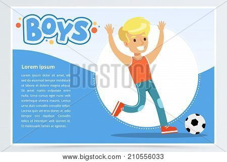 Smiling boy plalying soccer, boys banner for advertising brochure, promotional leaflet poster, presentation flat vector element for website or mobile app with sample text