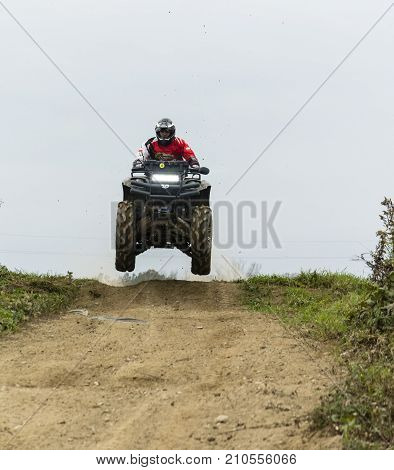 Quad Track Training On The Off-road.