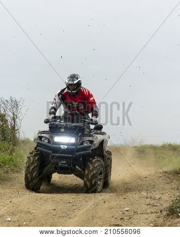 Quick Quad Driving Training On The Off-road.