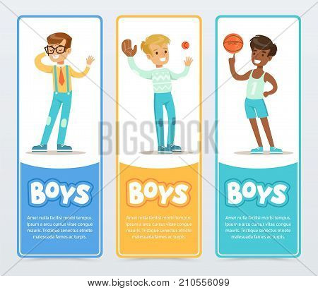 Active boys playing different sports, boys banners for advertising brochure, promotional leaflet poster, presentation flat vector element for website or mobile app with sample text