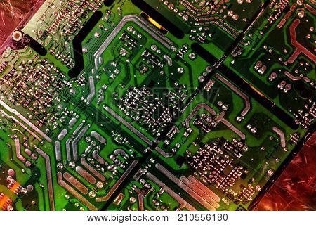 computers circuitboard with microchips, transistors and electronics