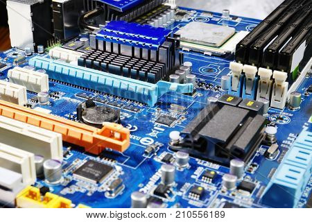 computers motherboard, microchips and electronics