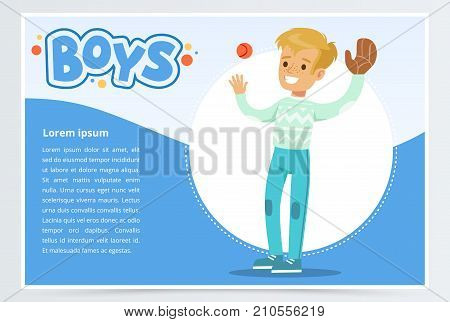 Boy palying baseball with glove and ball, boys banner for advertising brochure, promotional leaflet poster, presentation flat vector element for website or mobile app with sample text