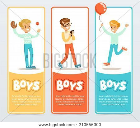 Boys in different situations, boys banners for advertising brochure, promotional leaflet poster, presentation flat vector element for website or mobile app with sample text