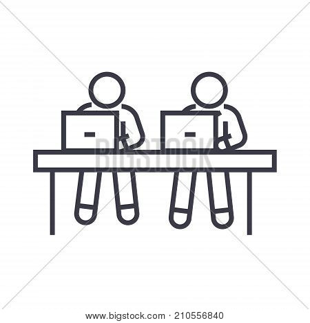coworking, working at laptops line icon, sign, symbol, vector on isolated background