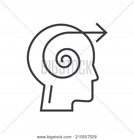 focus decision head line icon, sign, symbol, vector on isolated background