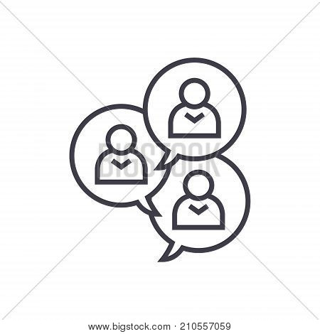 focus group discussion line icon, sign, symbol, vector on isolated background