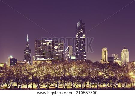 Chicago Downtown At Night, Usa.