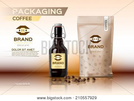 Coffee Packaging Mock Up Vector Realistic. Coffee Syrup Bottle. Coffee Beans Bag Product. Label Logo