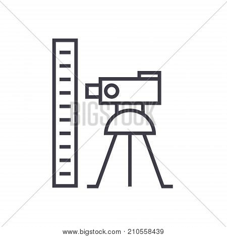 theodolite survey calculation line icon, sign, symbol, vector on isolated background