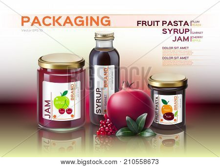 Fruit Pasta, Jam And Syrup Bottles Mock Up. Vector Realistic Products. 3D Packaging Label Designs
