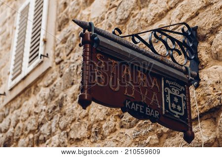 BUDVA, MONTENEGRO - AUGUST 16, 2017: sign in the old town in Budva, Montenegro
